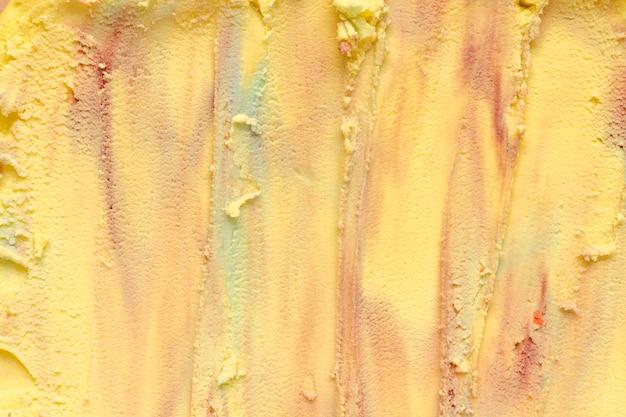 Vue de dessus gros plan de crème glacée colorée