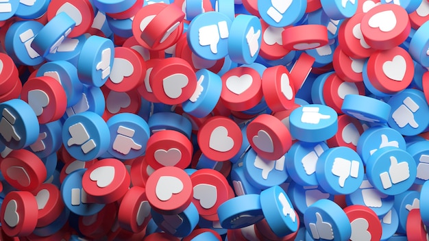 Vue de dessus d'un gros tas de boutons facebook like et love pour un arrière-plan en rendu 3d