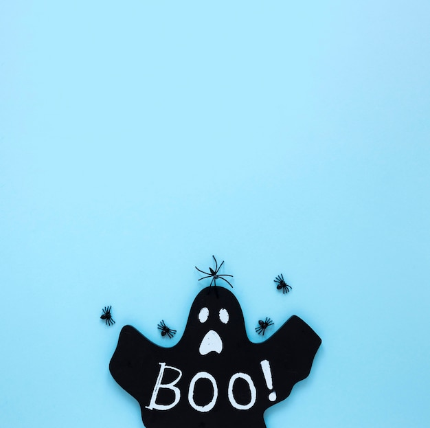 Vue de dessus halloween effrayant avec espace copie