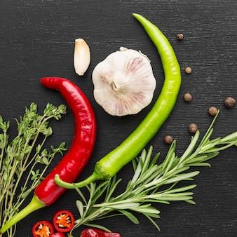 Vue de dessus des ingrédients de cuisine