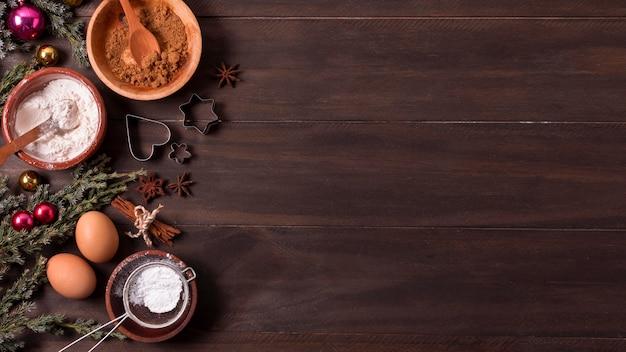 Vue de dessus des ingrédients du dessert de noël avec espace copie