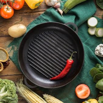 Vue de dessus ingrédients de légumes pour la cuisson des grillades végétariennes vue de dessus