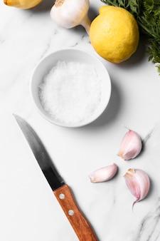 Vue de dessus des ingrédients pour cuisiner