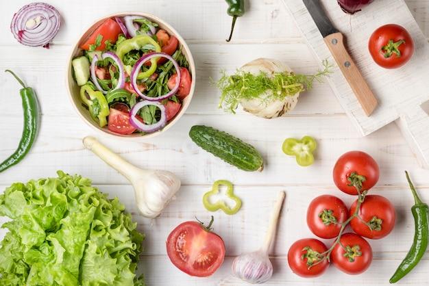 Vue de dessus des ingrédients végétariens