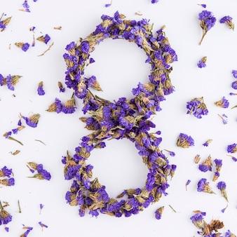 Vue de dessus de la journée des femmes florales du 8 mars