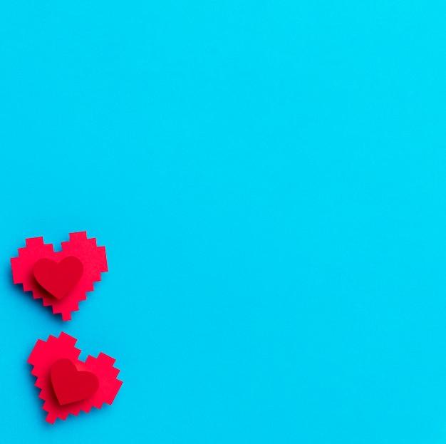 Vue de dessus journée mondiale du cœur avec espace copie