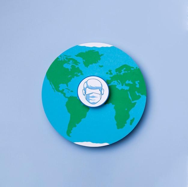 Vue de dessus journée mondiale du tourisme avec logo