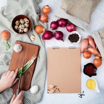Vue de dessus des légumes comme l'ail d'œuf d'oignon avec du beurre et des épices sur fond blanc avec copie espace