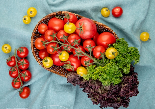 Vue de dessus des légumes comme des tomates basilic coriandre dans un panier avec des tomates sur une surface en tissu bleu