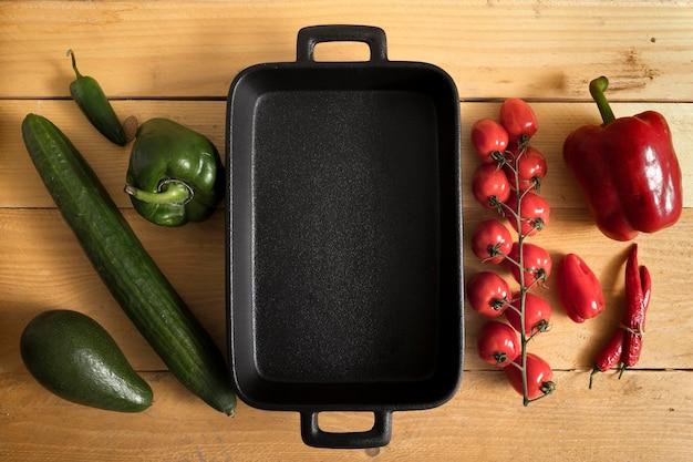 Vue de dessus des légumes avec espace copie