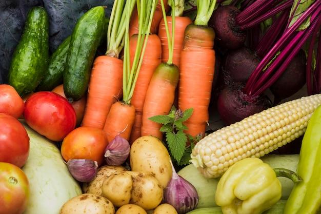 Vue de dessus de légumes de jardin frais