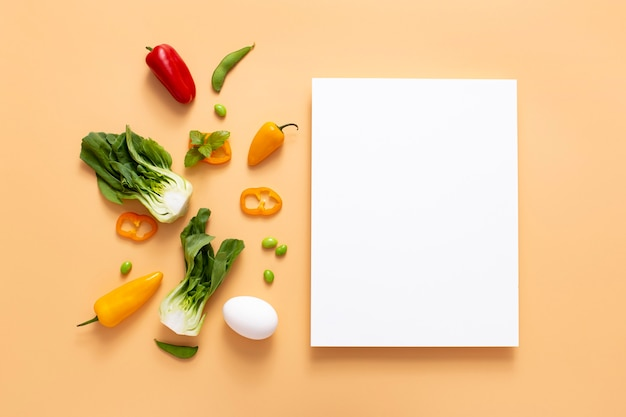 Vue de dessus des légumes avec rectangle vierge