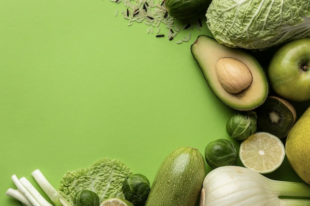 Vue de dessus des légumes verts avec espace copie