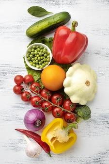 Vue de dessus avec des légumes
