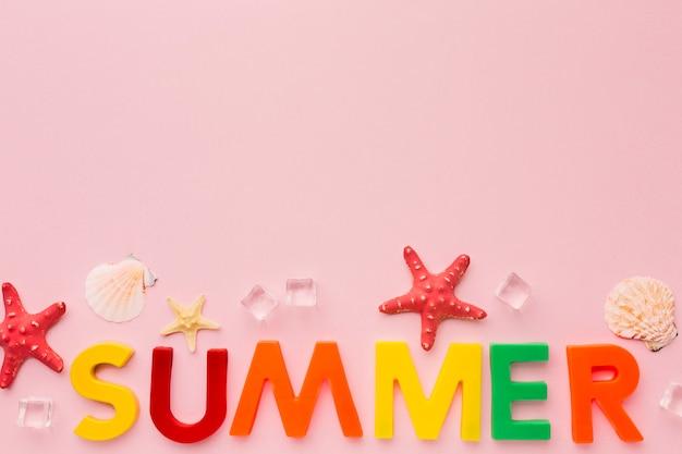 Vue de dessus lettrage d'été avec espace copie