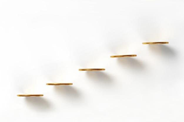 Vue de dessus de la ligne de bitcoins