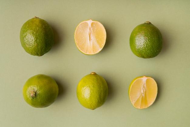 Vue de dessus de limes en tranches