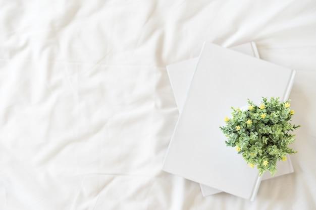 Vue de dessus des livres et des pots de fleurs sur fond de couverture blanche avec espace de copie.