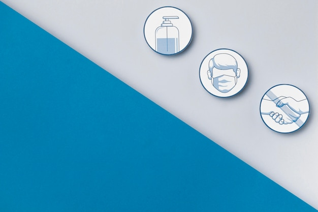 Vue de dessus des logos de mesures de sécurité avec copie espace