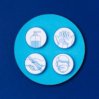Vue de dessus logos des mesures de sécurité de la journée mondiale du tourisme