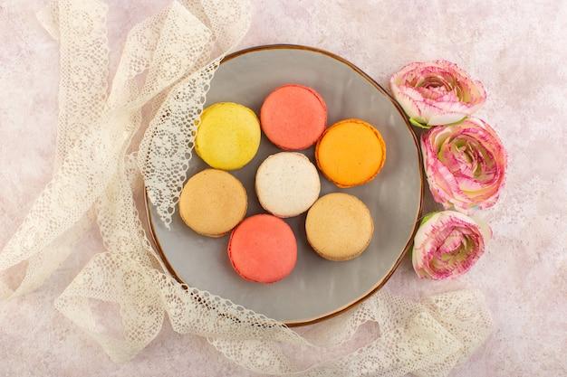 Une vue de dessus macarons français colorés avec des fleurs à l'intérieur de la plaque