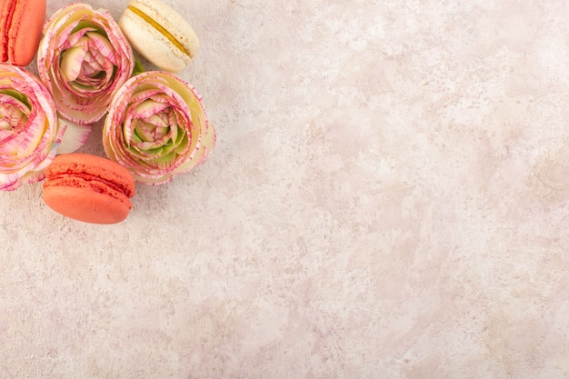 Une vue de dessus macarons français colorés avec des roses fanées sur le gâteau de bureau rose biscuit au sucre sucré
