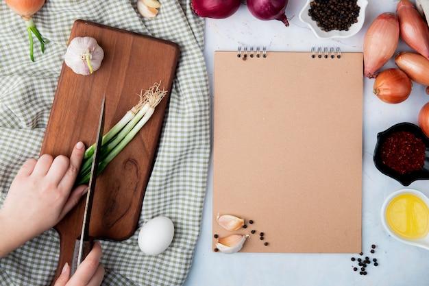 Vue de dessus de la main de femme coupant l'oignon avec l'échalote aux oeufs d'ail et d'autres sur fond blanc avec copie espace