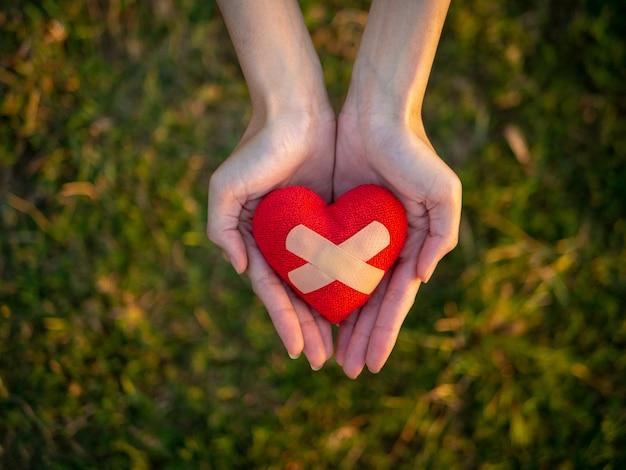 Vue de dessus main de jeune femme tenant coeur rouge.