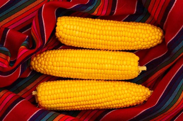 Vue de dessus de maïs avec un tissu