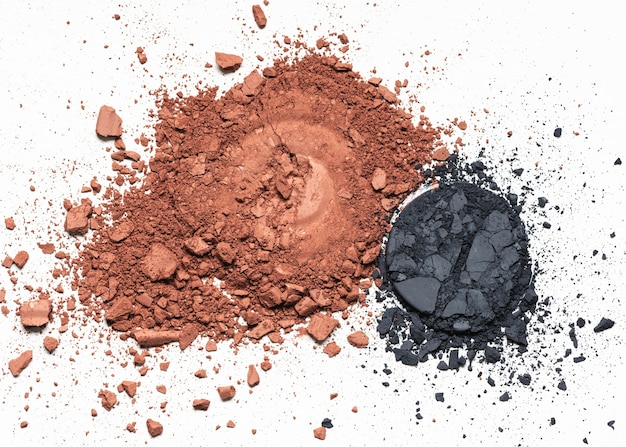 Vue de dessus maquillage poudre de fard à paupières