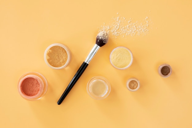 Vue de dessus maquillage produits de beauté