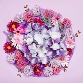 Vue de dessus mélange de belles fleurs
