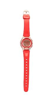 Vue de dessus de la montre-bracelet de sport rouge avec chronomètre. accessoire femme avec sangle isolé sur fond blanc
