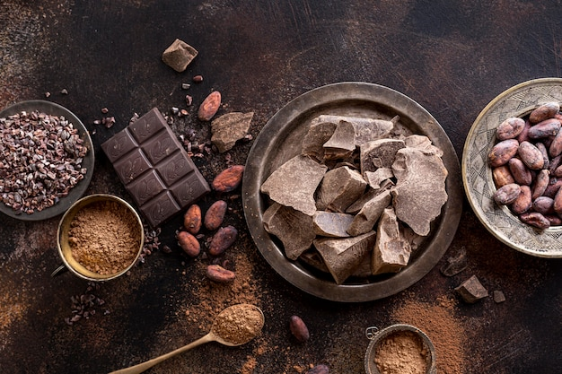 Vue de dessus des morceaux de chocolat sur une plaque avec des fèves de cacao et de la poudre