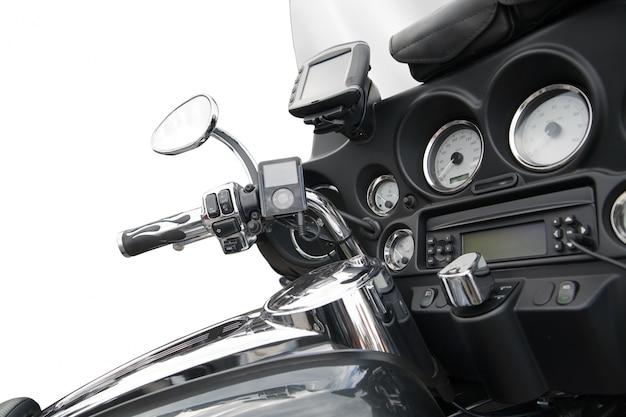 Vue de dessus d'une moto luxueuse
