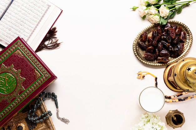 Vue de dessus nouvel an éléments islamiques