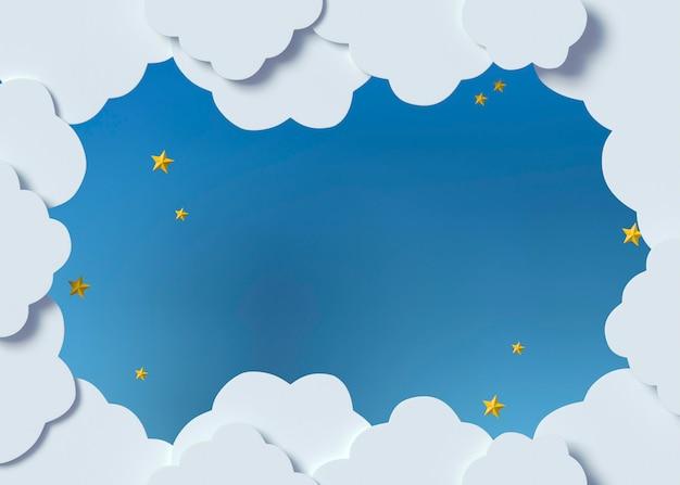 Vue de dessus des nuages blancs et des étoiles jaunes
