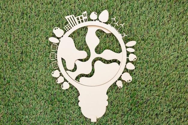 Vue de dessus objet en bois de la journée mondiale de l'environnement
