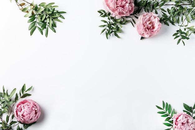 Vue de dessus des oeillets roses