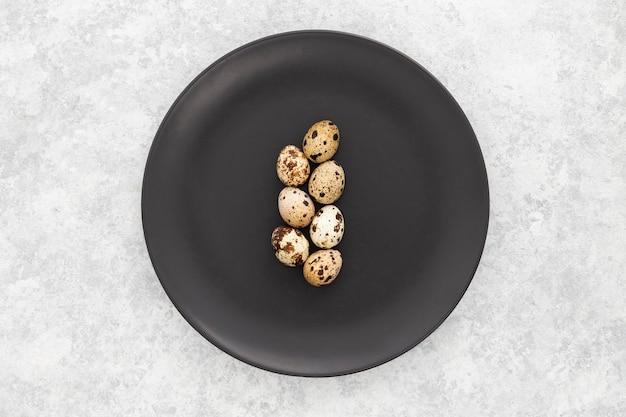 Vue de dessus des œufs de caille bio sur une plaque