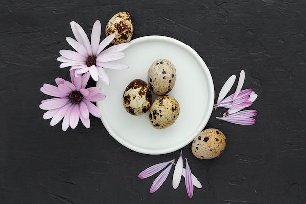 Vue de dessus des œufs de caille frais sur la table