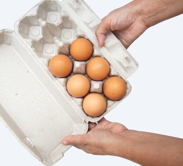 Vue de dessus des œufs de poule crus dans une boîte à œufs sur fond blanc.