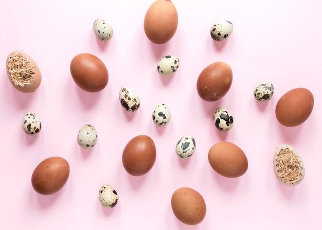 Vue de dessus des œufs de poulet et de caille