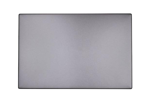 Vue de dessus d'ordinateur portable gris isolé sur fond blanc gros plan