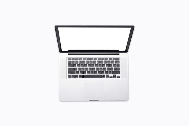 Vue de dessus d'un ordinateur portable isolé