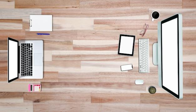 Vue de dessus sur l'ordinateur portable de l'ordinateur tablette smartphone avec style bureau.