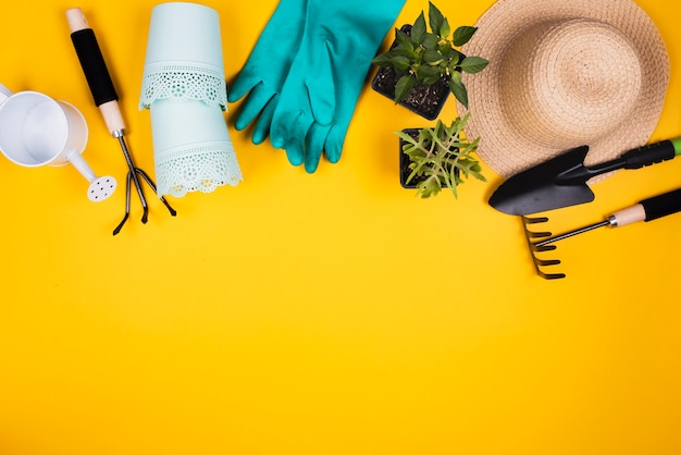 Vue de dessus des outils de jardinage avec espace de copie