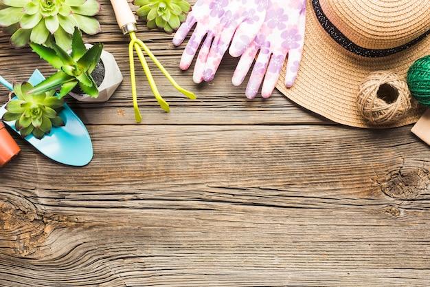 Vue de dessus des outils de jardinage sur le plancher en bois