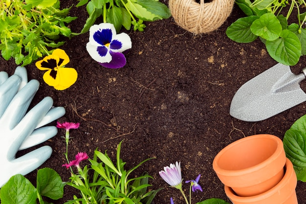 Vue de dessus des outils de jardinage et des plantes sur le sol avec copie espace