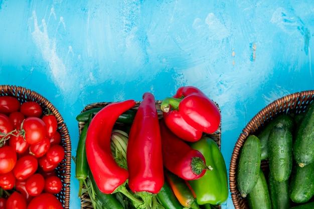 Vue de dessus des paniers de légumes
